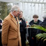 HRH The Prince of Wales admires the restored nineteenth century glasshouse at Tatton