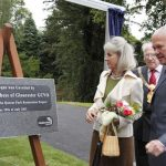Dutchess of Gloucester unveiling a plaque in Queens Park Crewe