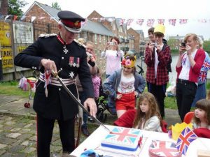 The Lord Lieutenant attending a street party at Ellesmere Port Boat Museum