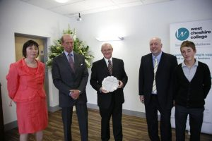 The duke of Kent visiting West Cheshire College